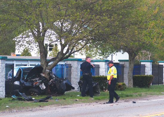 Police secure the scene of Tuesday's fatal accident in Whitman. Photo by Stephanie Spyropoulos