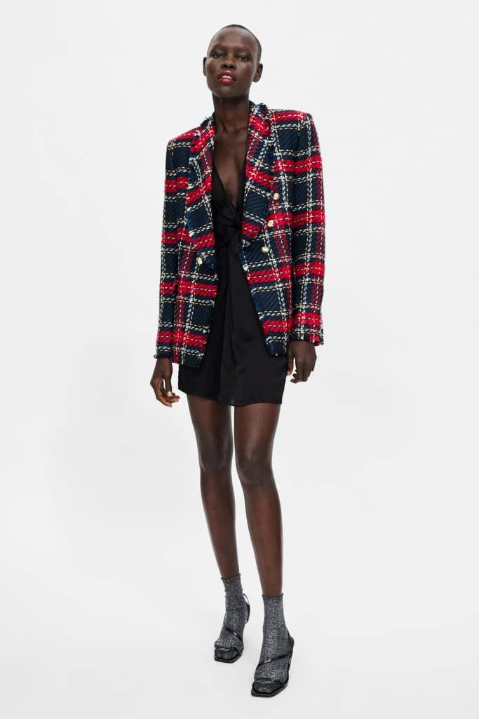 ZARA - CHECKERED TWEED BLAZER