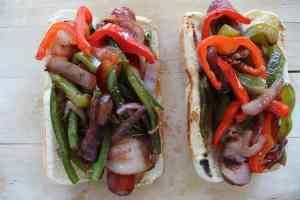 bacon wrapped hot dogs, street dogs, LA hot dogs, la dogs