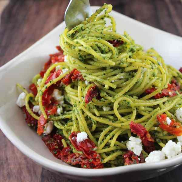 Kale Pesto Pasta with Goat Cheese