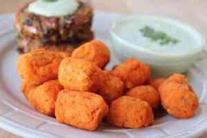 sweet potatoes, kosher salt, brown rice flour, ingredients, recipe, tater tots, homemade, baked, sweet potato tots