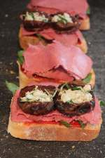 blue cheese rosemary stuffed dates, blue cheese rosemary panini, blue cheese pastrami panini, pastrami date panini