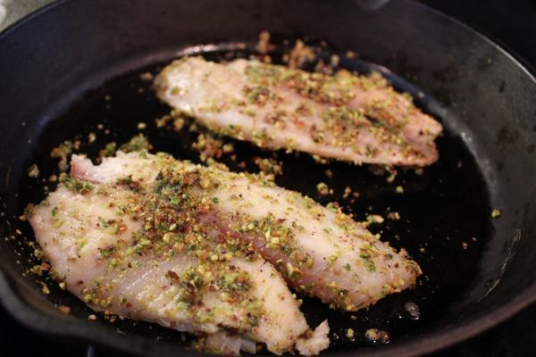 Pistachio Crusted Cast Iron Skillet Tilapia