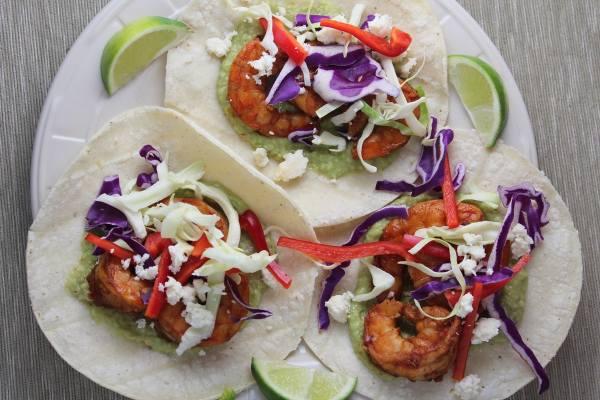 Grilled Shrimp Tacos with Green Chili Avocado Salsa