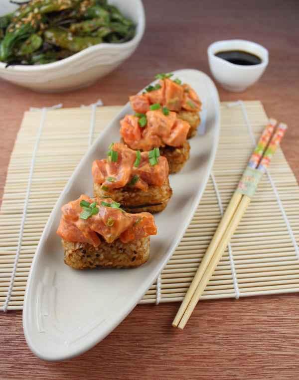 Spicy Tuna on Crispy Rice Cakes