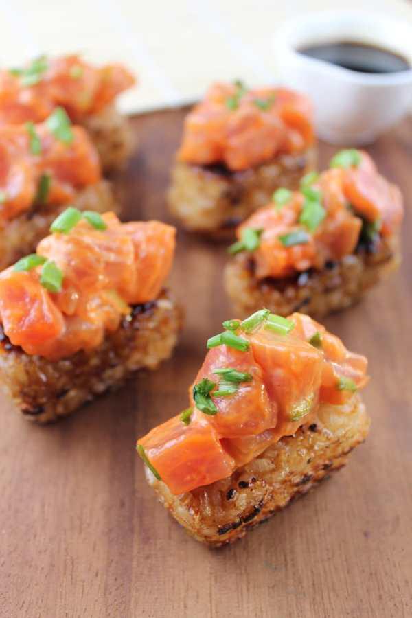 Japanese Spicy Tuna Rice Cakes