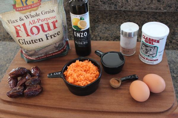 Gluten Free Carrot Date Muffin Ingredients