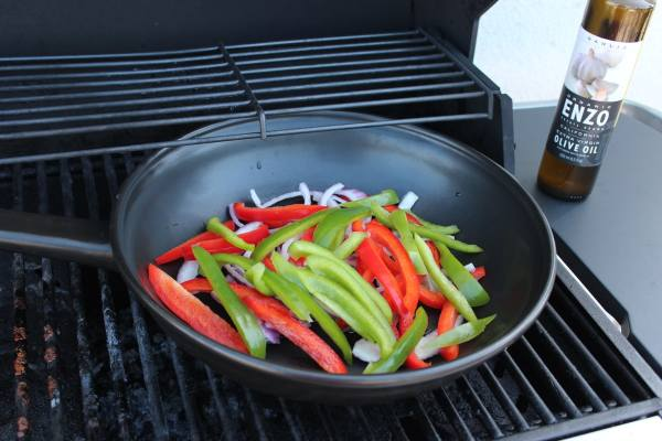 Grilled Peppers and Onions in Longaberger Flameware