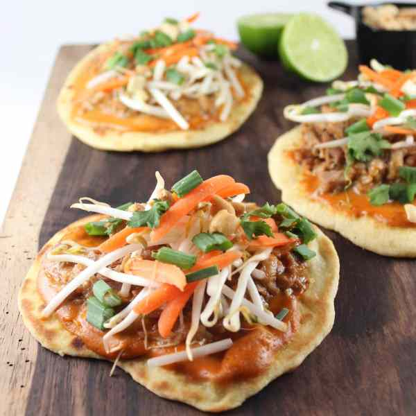 Thai Roti Bread Peanut Pork Pizzas