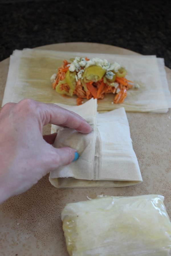 Buffalo Chicken Phyllo Wraps