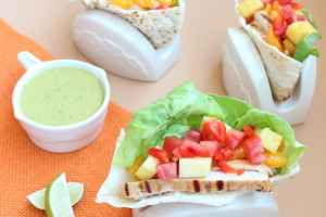 Caribbean Chicken Pitas with Honey Lime Dressing