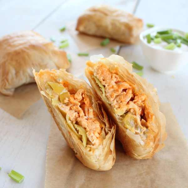 Buffalo Chicken Phyllo Rolls