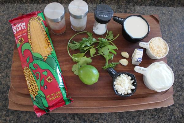 Mexican Corn Pasta with Chipotle Alfredo Ingredients