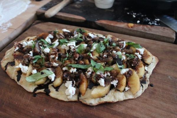 Balsamic Basil Peach Flatbread Recipe