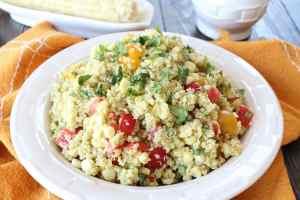 Quinoa Corn Salad with Creamy Avocado Dressing