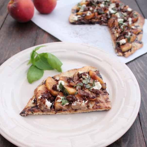 Grilled Peach Flatbread with Goat Cheese and Balsamic Reduction