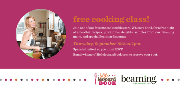 Beaming Cooking Class Flyer