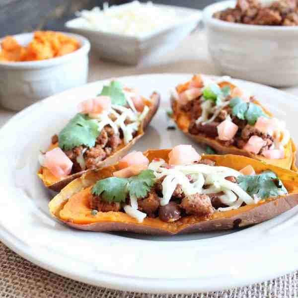 Turkey Chili Sweet Potato Skins