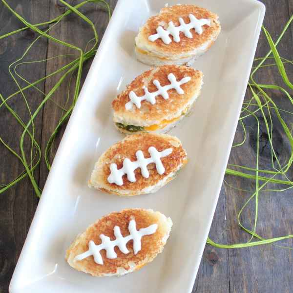 Football Shaped Grilled Cheese Sandwiches