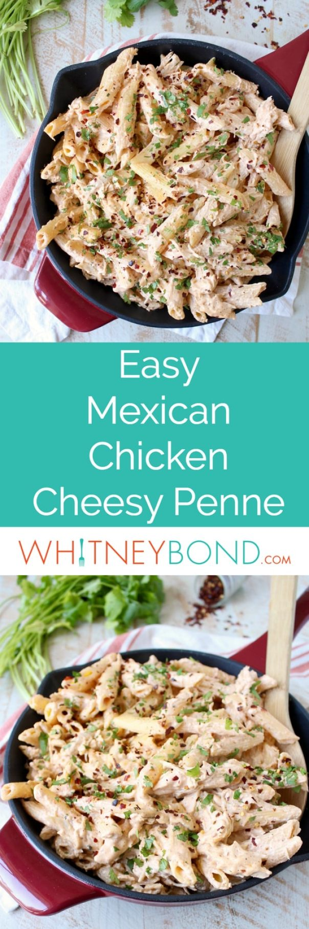 Spicy Mexican Chicken Cheesy Penne Pasta is a simple recipe that is quick and easy to whip up for a weeknight dinner in under 30 minutes!