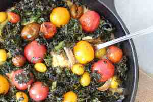 Roasted Tomato and Kale Polenta Skillet