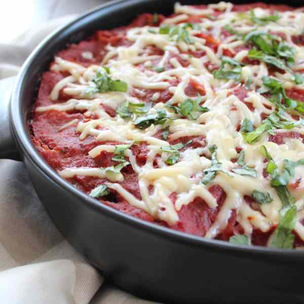 Mediterranean Stuffed Shells with Red Wine Tomato Sauce