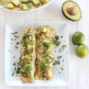 Chicken Enchiladas with Creamy Avocado Sriracha Sauce