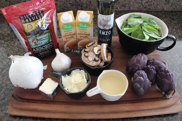 Spinach Artichoke Mushroom Risotto Ingredients