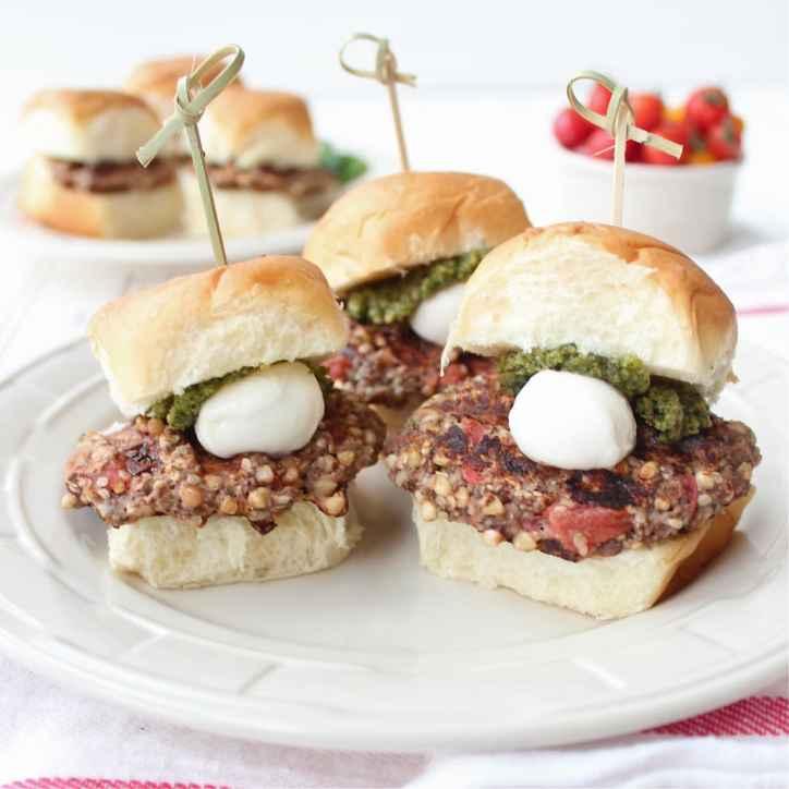 Caprese Veggie Burger Sliders