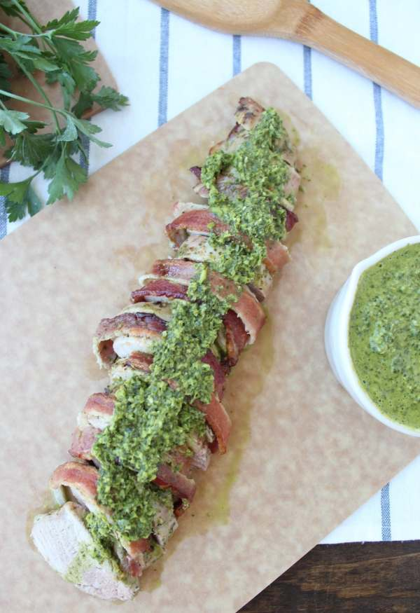 Chimichurri Bacon Wrapped Pork