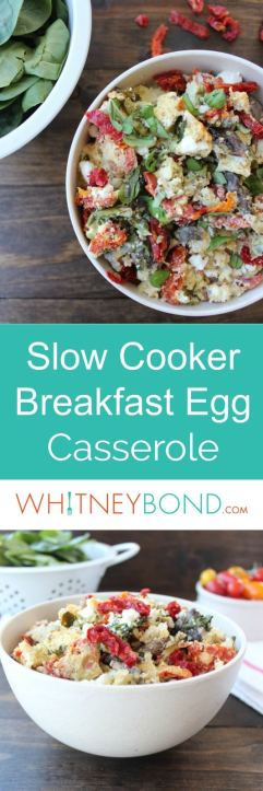 Vegetables, eggs and feta cheese are combined in this simple, vegetarian and gluten free Greek Crockpot Breakfast Casserole.