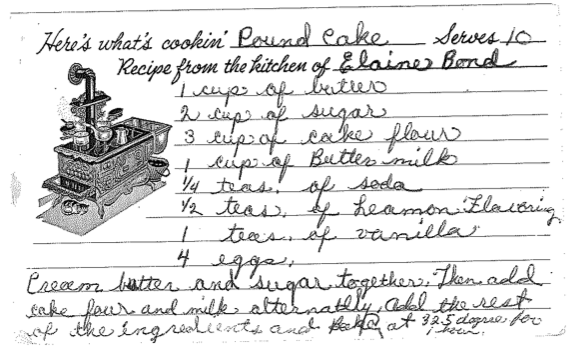 Grandmas Hand Written Pound Cake Recipe