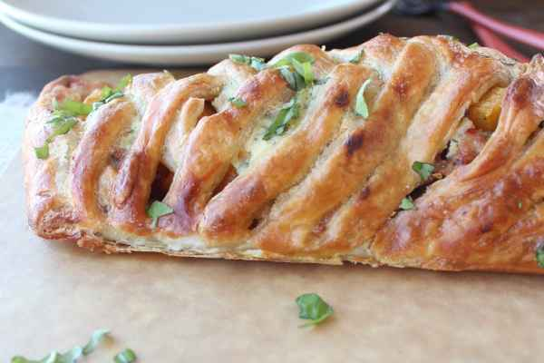 Braided Squash and Sausage Strudel