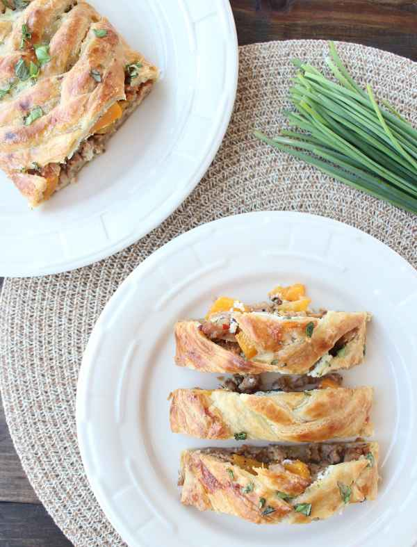 Butternut Squash and Sausage Braided Strudel