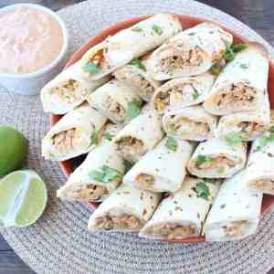 Cheesy Green Chili Chicken Rolled Tacos