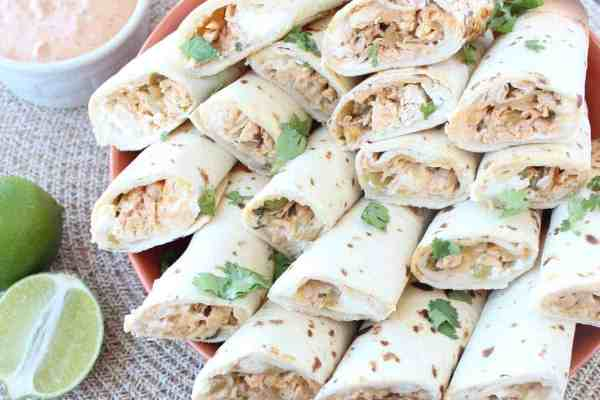 Green Chili Chicken Rolled Tacos