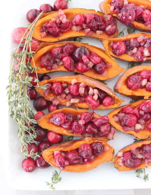 Maple Cranberry Pancetta Sweet Potato Skins