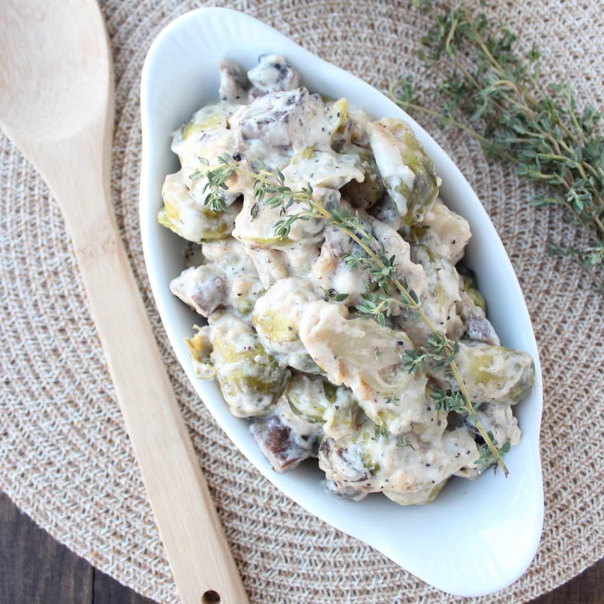 Portobello Mushroom & Brussels Sprouts Casserole