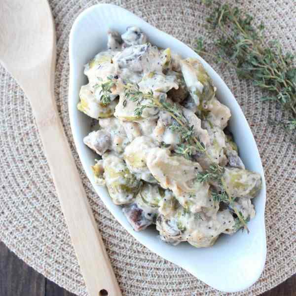 Portobello Mushroom Brussels Sprouts Casserole