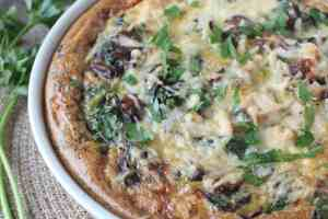 Spinach Mushroom Quiche with Stuffing Crust