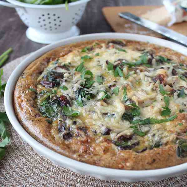 Spinach Mushroom Turkey Quiche with Stuffing Crust