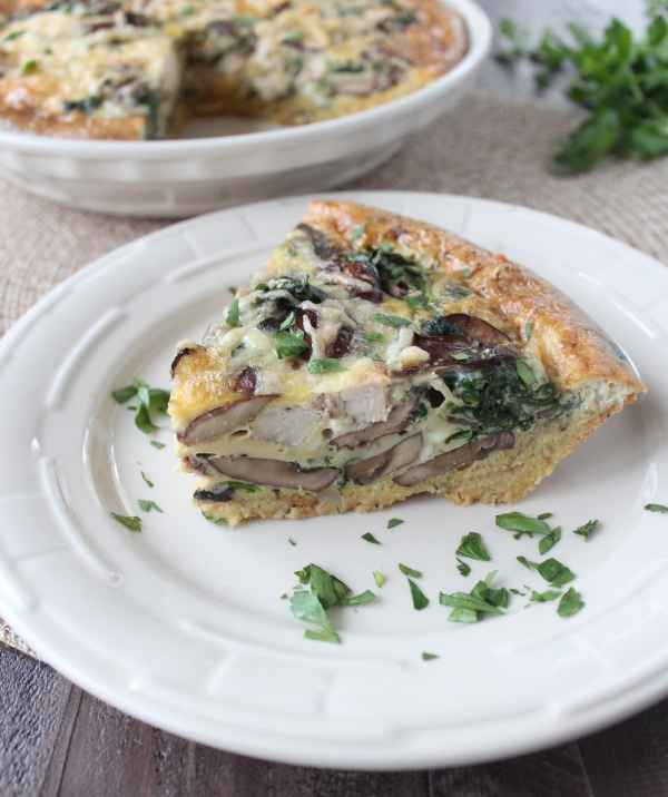 Turkey Mushroom Quiche with Stuffing Crust