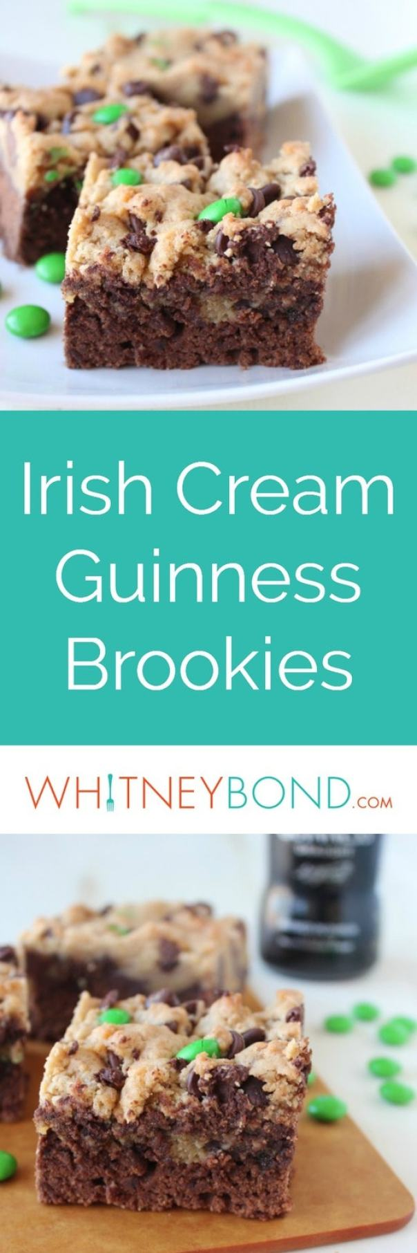 Irish Cream Guinness Brookies are made up of a layer of Guinness Brownies, topped with a layer of Irish Cream Chocolate Chip Cookie Dough, perfect for St Patricks Day!