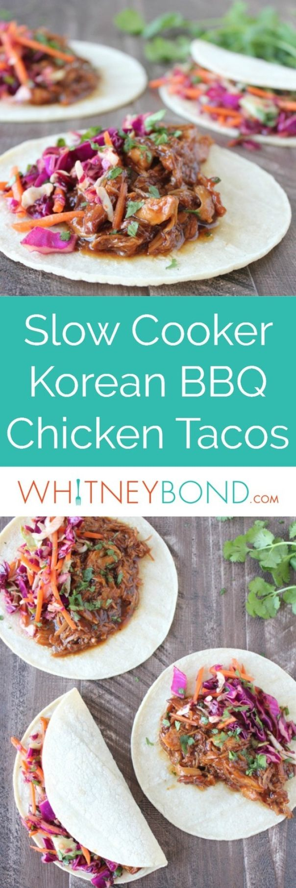 Chicken is slow cooked in a delicious Korean BBQ sauce, shredded and added to tortillas in this scrumptious taco recipe topped with Asian slaw.