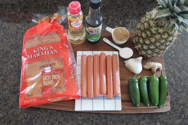 Grilled Pineapple Teriyaki Hot Dog Ingredients