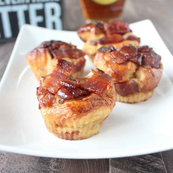 Maple Candied Bacon Bread Pudding Muffins
