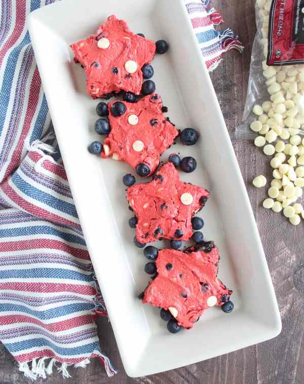 Frozen Red Velvet Cheesecake Bars for 4th of July