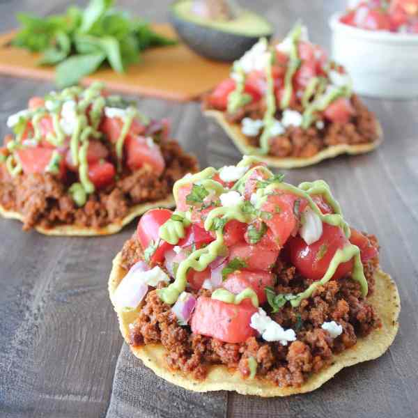 Chorizo Tostadas with Watermelon Salsa Recipe