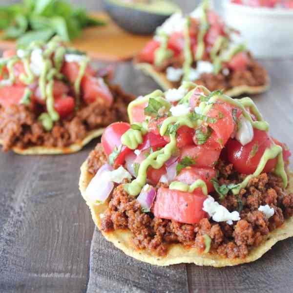 Chorizo Tostadas with Watermelon Salsa