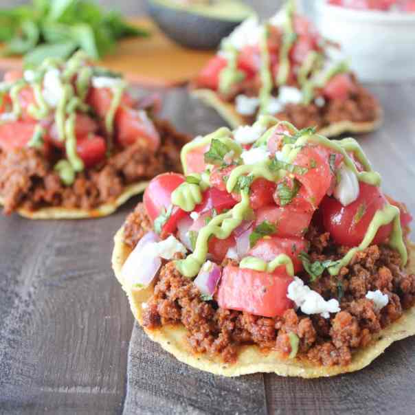 Chorizo Tostadas with Watermelon Serrano Salsa